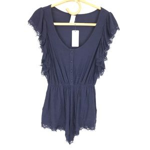 L*Space Navy Lace Ruffle Romper NEW Size XS